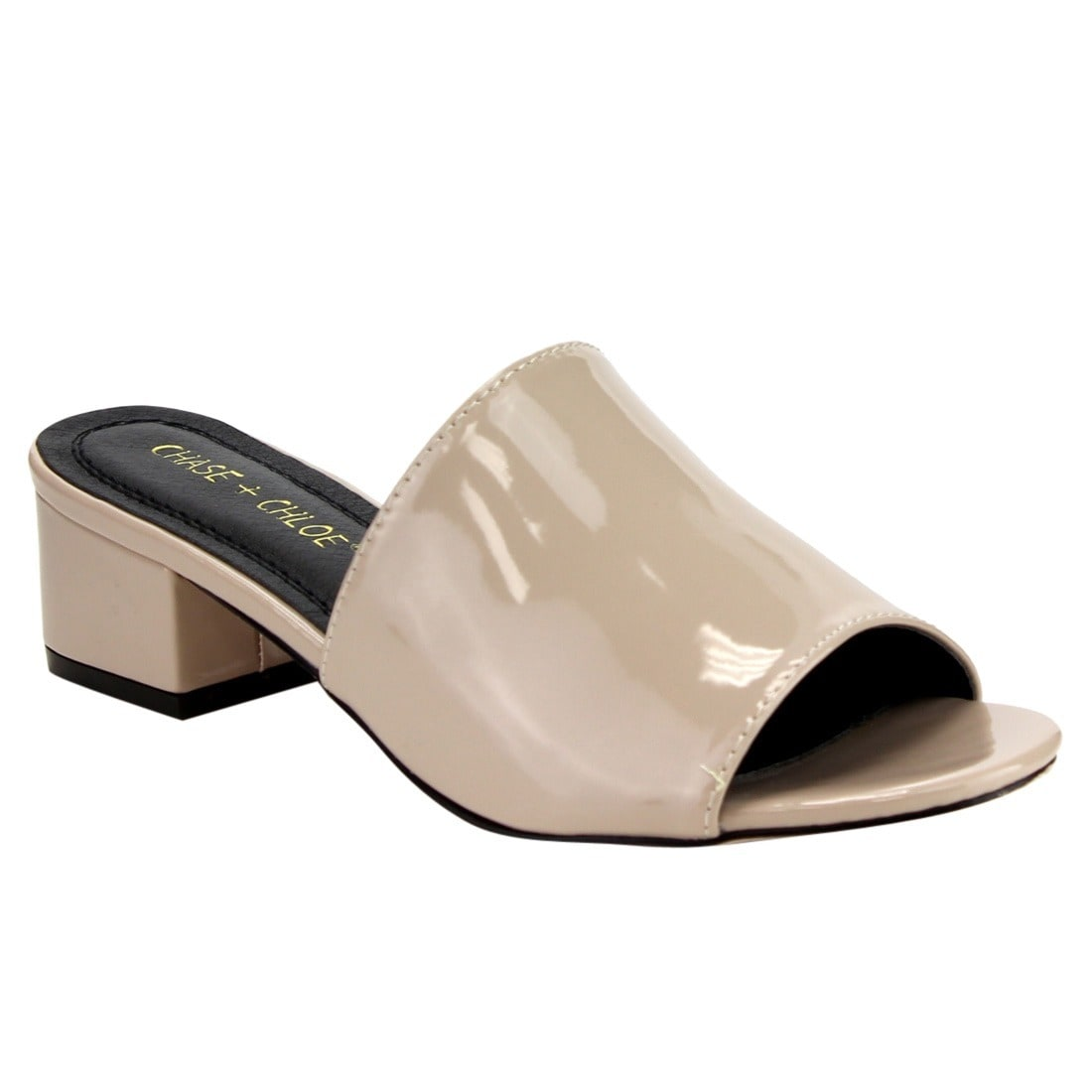 Chase & Chloe EF20 Women's Patent Faux-leather Chunky-hee...