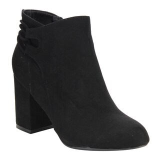 Bamboo Women's Faux-suede Block-heel Ankle Booties (3 options available)