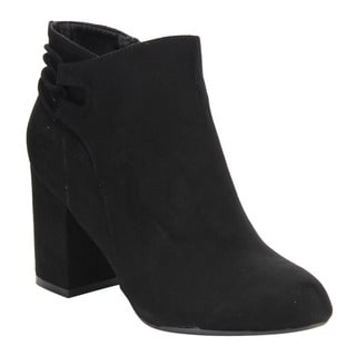 Bamboo Women's Faux-suede Block-heel Ankle Booties