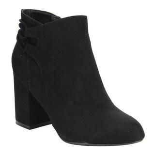 Bamboo Women's Faux-suede Block-heel Ankle Booties