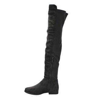 Liliana EF16 Women's Thigh-high Side-zipper Slouchy Flat Dress Boots