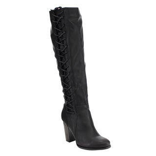 Bamboo Women's Black Faux-leather Corset-style Over-knee High Boots