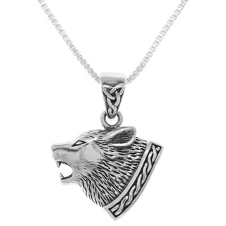 Sterling Silver Celtic Wolf Head Pendant on Box Chain Necklace