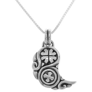 Carolina Glamour Collection Sterling Silver Gjallarhorn Viking Horn Pendant on Box Chain Necklace