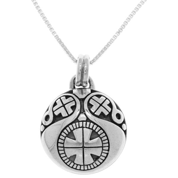 7e4c58d204ef3b Sterling Silver Viking Protection Amulet Pendant on Box Chain Necklace