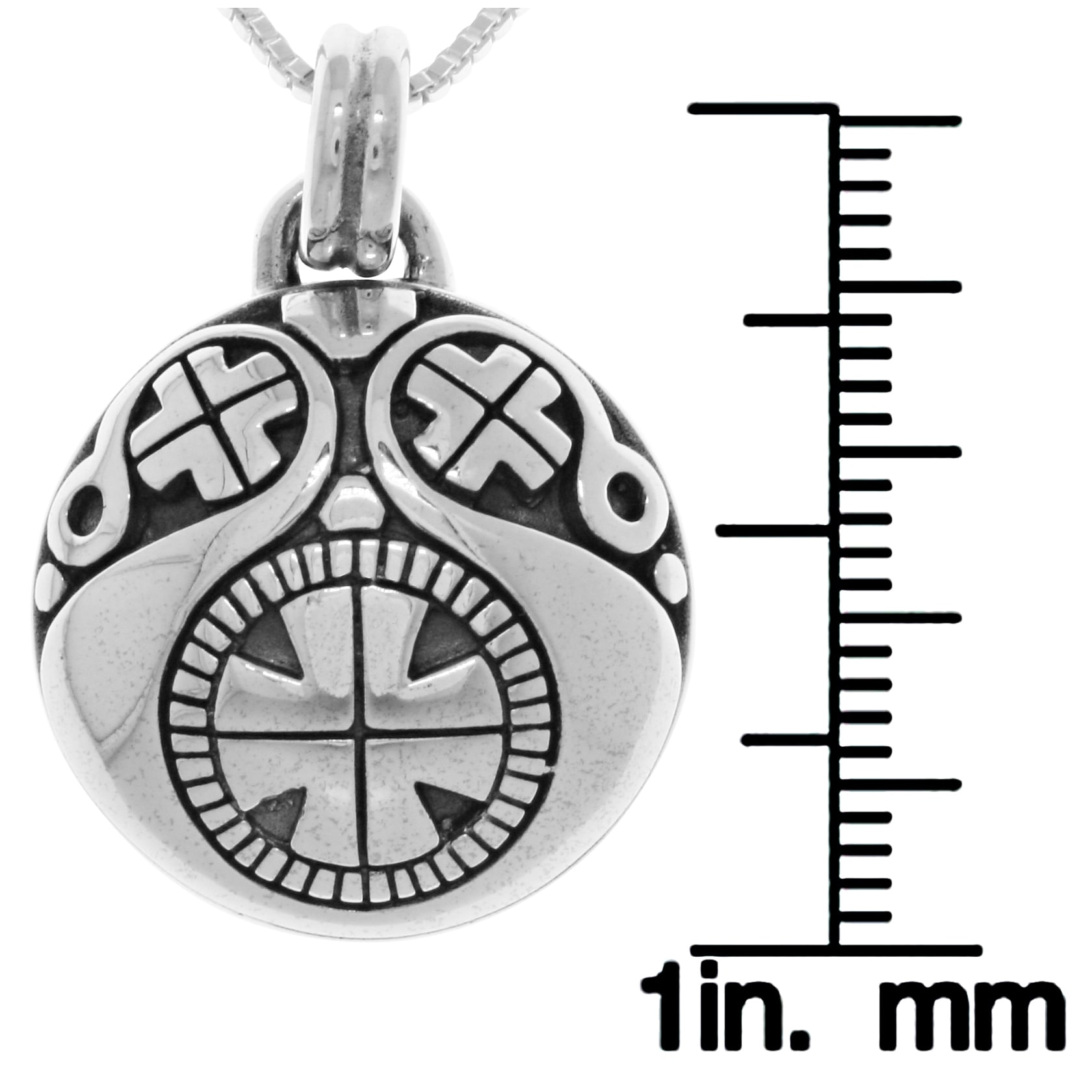 1e2a61e1ca228c Shop Sterling Silver Viking Protection Amulet Pendant on Box Chain Necklace  - Free Shipping Today - Overstock - 13733963