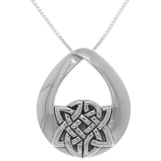 Sterling Silver Teardrop Celtic Knot Pendant on Box Chain Necklace