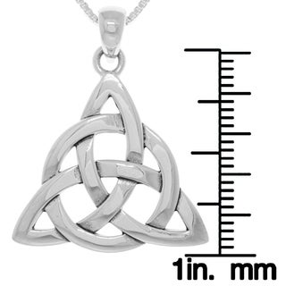 Carolina Glamour Collection Sterling Silver Celtic Triquetra Circle of Life Pendant on Box Chain Necklace