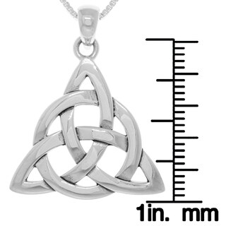 Sterling Silver Celtic Triquetra Circle of Life Pendant on Box Chain Necklace