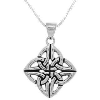 Carolina Glamour Collection Sterling Silver Four Corner Celtic Trinity Knot Pendant on Box Chain Necklace