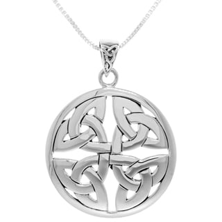 Carolina Glamour Collection Sterling Silver Celtic Trinity Knot Medallion Pendant on Box Chain Necklace