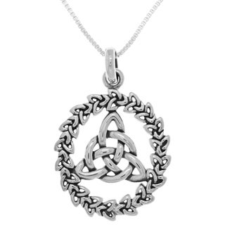 Carolina Glamour Collection Sterling Silver Celtic Trinity Knotwork Pendant on Box Chain Necklace