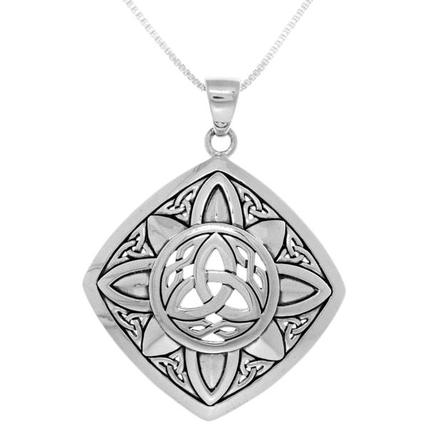 Sterling silver celtic trinity sunburst pendant on box chain sterling silver celtic trinity sunburst pendant on box chain necklace aloadofball Images