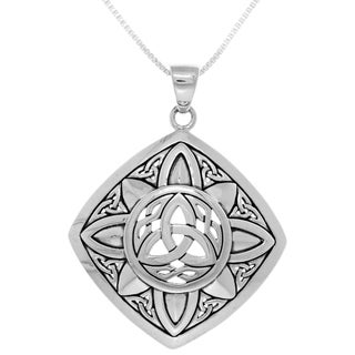 Carolina Glamour Collection Sterling Silver Celtic Trinity Sunburst Pendant on Box Chain Necklace