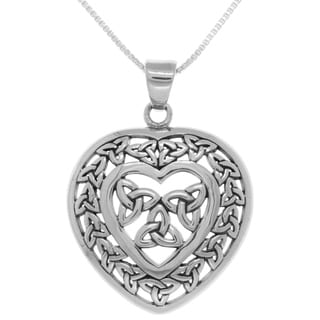 Sterling Silver Celtic Trinity Heart Pendant on Box Chain Necklace