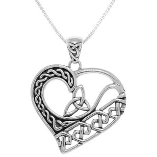 Sterling Silver Celtic Trinity Knot Heart Pendant on Box Chain Necklace