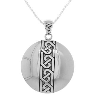 Women's Sterling Silver Celtic Knot Medallion Pendant Box Chain Necklace