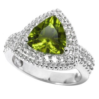 Sterling Silver 2.94Ct Peridot and White Topaz Halo Ring