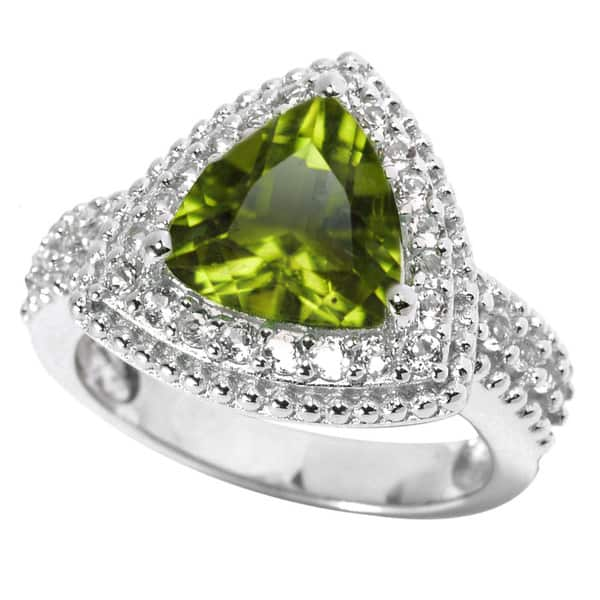 bad163b51 Shop Sterling Silver 2.94Ct Peridot and White Topaz Halo Ring - On ...
