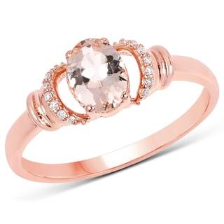 Malaika 14K Rose Gold 0.76 Carat Genuine Morganite and White Diamond Ring
