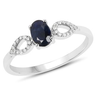 Malaika 14k White Gold 5/8ct TW Blue Sapphire and Diamond Accent Ring