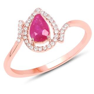 Malaika 14K Rose Gold 0.61 Carat Genuine Ruby and White Diamond Ring