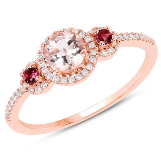 Malaika 14k Rose Gold 5/8ct TW Morganite, Pink Tourmaline and Diamond Accent Ring