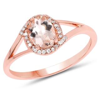 Malaika 14k Rose Gold 4/5ct TW Morganite and Diamond Accent Ring