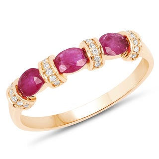 Malaika 14k Yellow Gold 3/4ct TW Ruby and Diamond Accent Ring