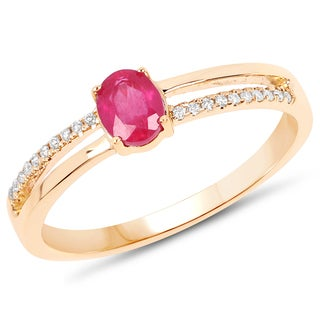 Malaika 14k Yellow Gold 1/2ct TW Ruby and Diamond Accent Ring