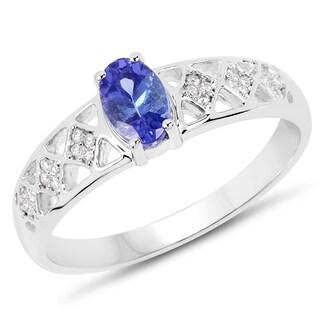 Malaika 14k White Gold 1/2ct TW Tanzanite and Diamond Accent Ring