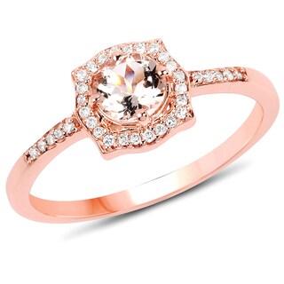 Malaika 14K Rose Gold 1/2 ct TDW Genuine Morganite and White Diamond Ring
