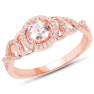 Malaika 14k Rose Gold 3/5ct TW Morganite and Diamond Accent Ring