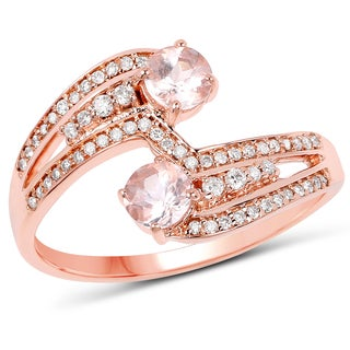Malaika 14k Rose Gold 3/4ct TW Morganite and Diamond Accent Ring