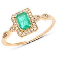 Malaika 14k Yellow Gold 5/8ct TW Zambian Emerald and Diamond Accent Ring