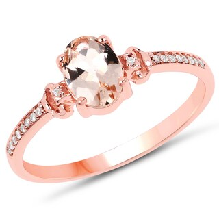 Malaika 14K Rose Gold 0.75 Carat Genuine Morganite and White Diamond Ring