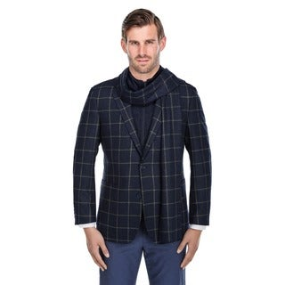 Verno Men's Navy and White Windowpane Pattern Wool Blazer with Scarf and Zip-up Bib