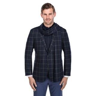 Verno Men's Navy and White Windowpane Pattern Wool Blazer with Scarf and Zip-up Bib