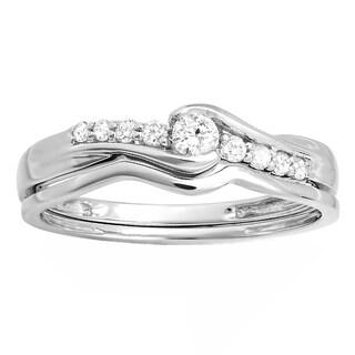10k White Gold 1/4ct TDW Diamond Bridal Promise Wedding Set (H-I, I1-I2)