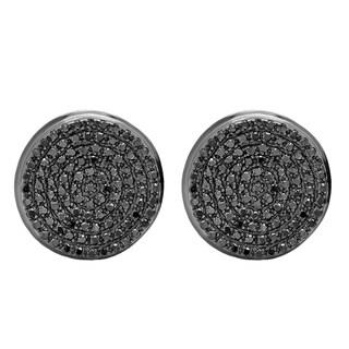 10k Black Gold Men's 3/8ct TW Black Diamond Micro Pave Hip Hop Stud Earrings
