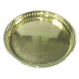 """Elegance Gold Plated 15"""" Gallery Tray"""