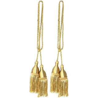 Vintiquewise Gold-tone Rayon Window Curtain Tassel Tie Backs (Set of 2)