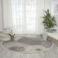 Nourison Graphic Illusions Grey Round Rug - 7'9 x 7'9