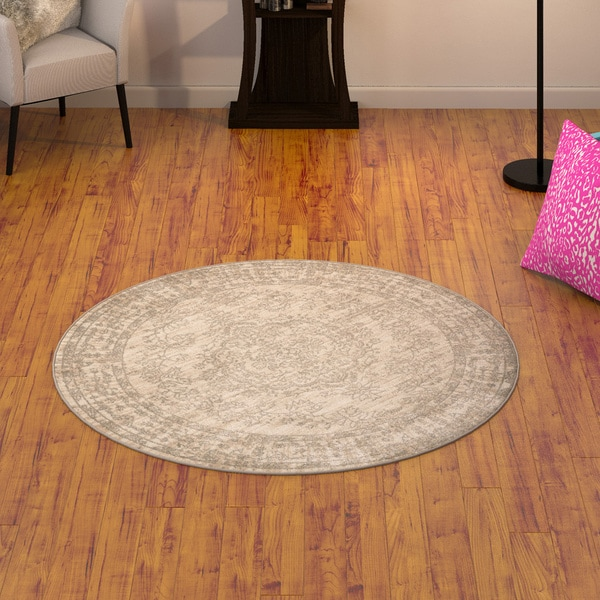 Porch & Den Greenpoint Franklin Bone Area Rug - 5'3 x 5'3