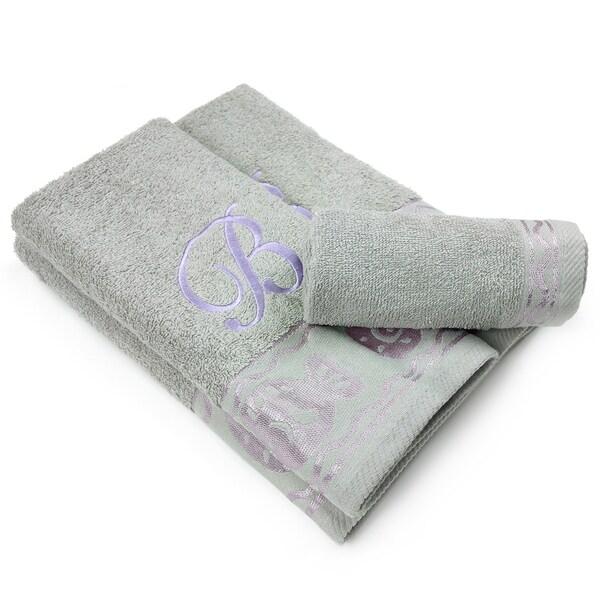 Elegant 3-Piece fish Border Towel Set with Monogram