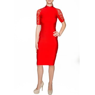 Sentimental NY Women's Lace Sleeve Detail Knee-length Body Con Dress