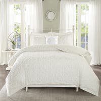 Madison Park Sarah White Tufted Comforter 4 Piece Set Full/ Queen (As Is Item)