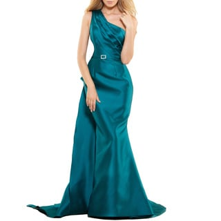 Terani Coutoure Women's Long Elegant Red and Green Polyester Evening Gown with Asymmetricial Neck