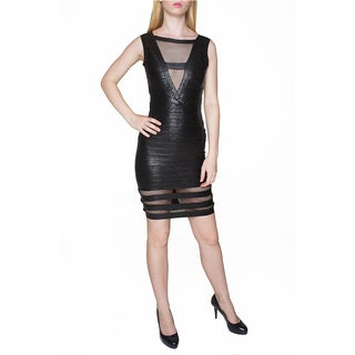 Sentimental NY Women's Black Rayon Blend Mesh Bodycon Dress