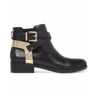 BCBG Black Leather Low-heel Ankle Boots with Gold-tone Metal Buckles